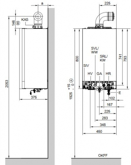 viessmann vitodens 200 w 26 kw gasbrennwert therme vitocell 100 w 120 liter heat store. Black Bedroom Furniture Sets. Home Design Ideas