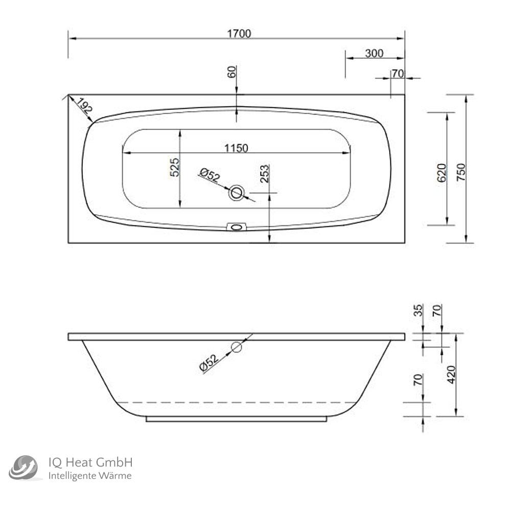 acryl badewanne acapulco 170 x 75 cm wei wanne styropor wannentr ger rechteck heat store. Black Bedroom Furniture Sets. Home Design Ideas