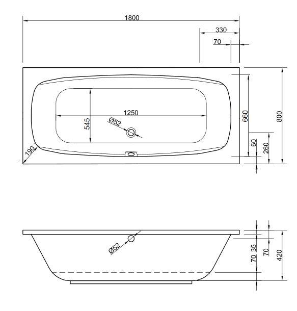 Acryl badewanne acapulco 180 x 80 cm wei wanne styropor for Kaldewei acryl badewanne