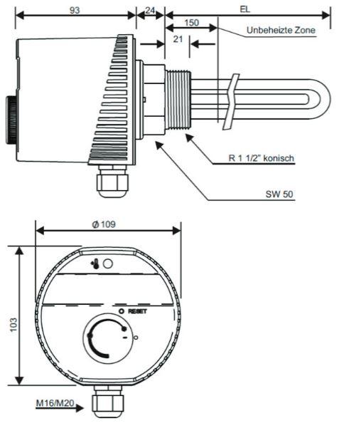 Askoma Einschraubheizk/örper AHR-B-S 230//400 V Elektro Heizstab Heizpatrone Leistung: 2.0 kW // 230V