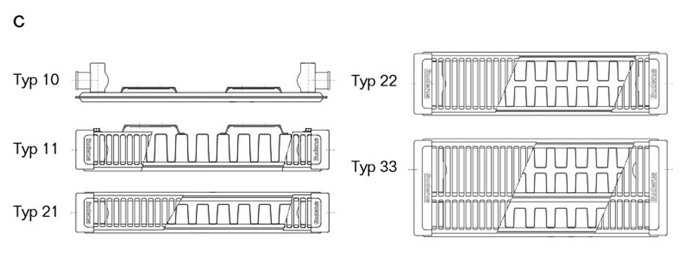 Halter BL: 1400 mm Buderus Logatrend Kompakt-Flachheizk/örper C-Profil Typ 11 BH 600 vers L/ängen