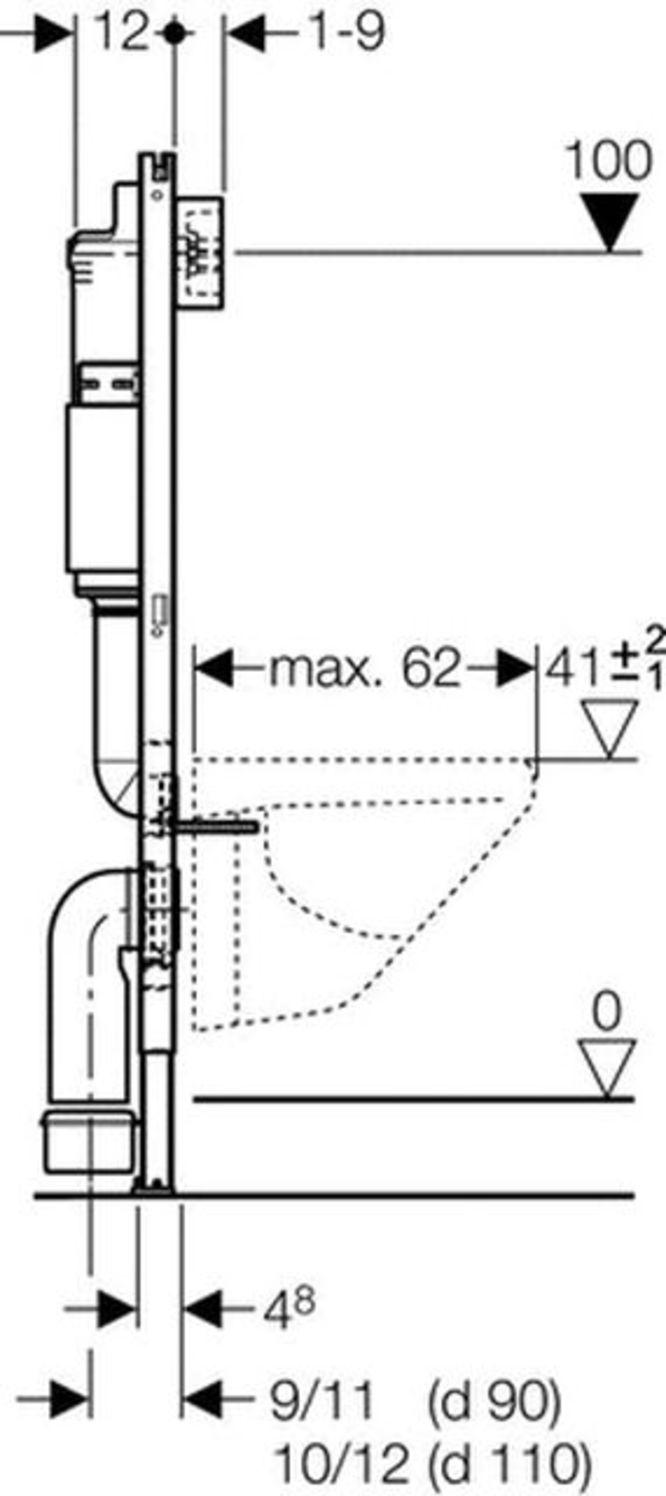 geberit duofix basic wc-vorwandelement up100 mit befestigung nr