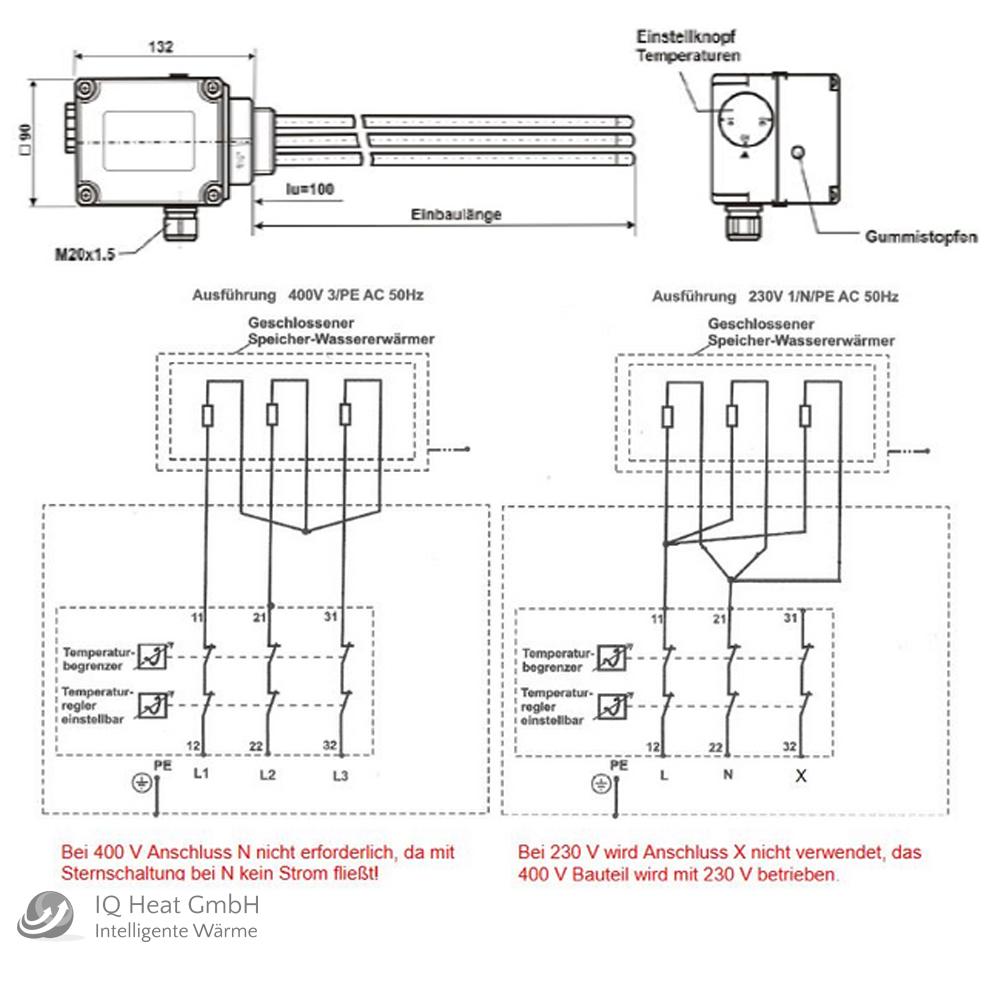 Elektroheizstab 1 1//2 Heizpatrone 4,5 kW 400V Heizstab