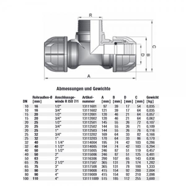 Gebo Plast T-Stück 20 25 32 40 50 63 PE Klemmfitting Abzweig Klemmverbinder